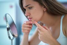 Upset Stressed Sad Acne Woman ...