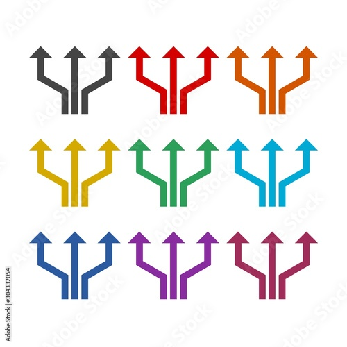Triple arrows color icon set isolated on white background Wallpaper Mural