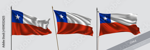 Obraz Set of Chile waving flag on isolated background vector illustration - fototapety do salonu