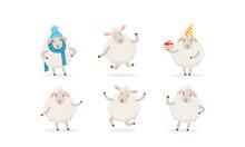 Cute Cartoon Sheep Vector Set....