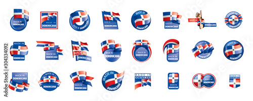Obraz Dominicana flag, vector illustration on a white background - fototapety do salonu