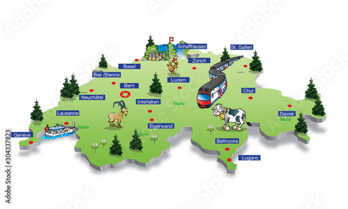 Fotografie, Obraz switzerland map with main cities