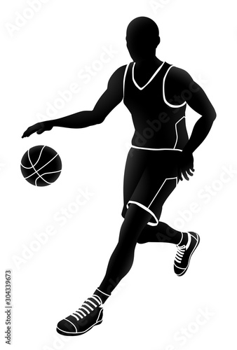 A basketball player silhouette sports illustration Canvas Print