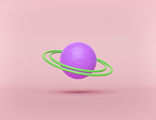 Cartoon Style Abstract Planet With Rings Isolated On Pastel Background. Minimal Concept. 3d Rendering