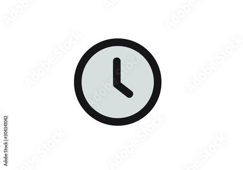 Black and white Simple Line clock icon. Outline time vector Tapéta, Fotótapéta