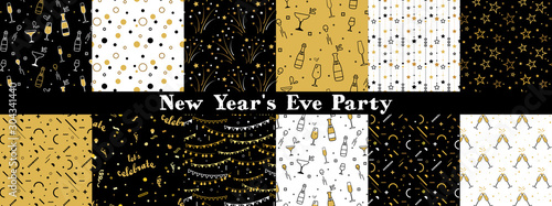 Collection of seamless pattern designs for celebrations , birthday and graduation party. In gold, white and black colors. Vector illustration - 304341440