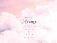 Sugar Cotton Pink Clouds Vector Design Background