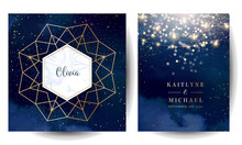 Magic Night Dark Blue Cards With Sparkling Glitter Bokeh And Line Art.
