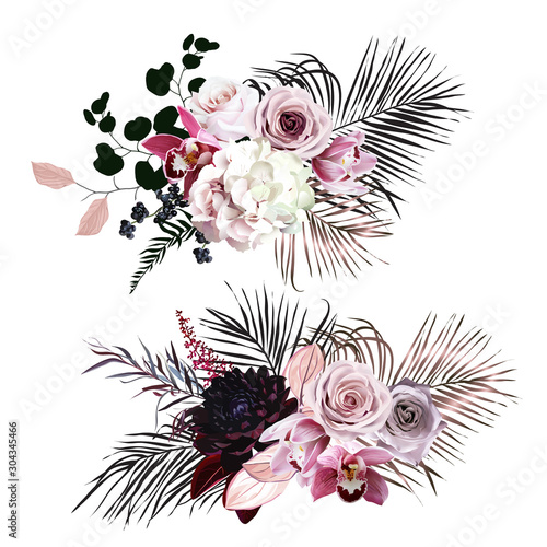 Dusty rose, hydrangea, pink cymbidium orchid, berry, bronze, black palm leaves Poster Mural XXL