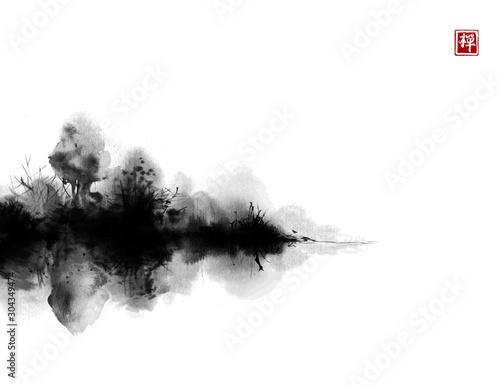 Mglista czarna wyspa z drzewami leśnymi. Tradycyjne malowanie tuszem orientalnym sumi-e, u-sin, go-hua. Hieroglif - klarowność.