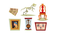 Museum Exhibit Items Isolated On White Background Vector Set
