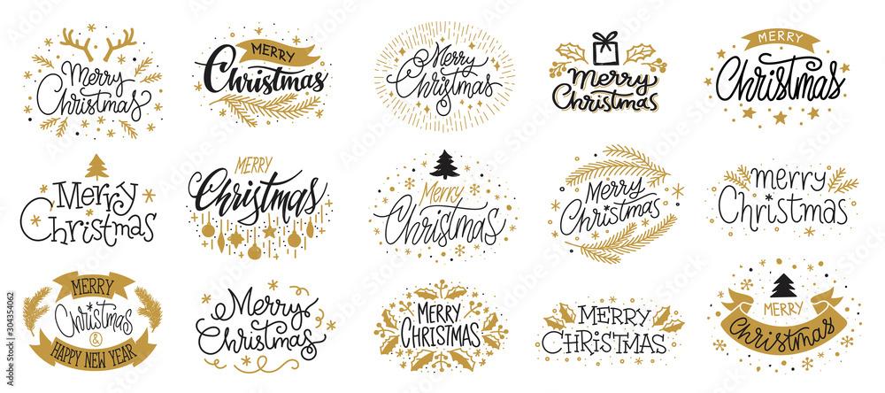 Fototapeta Merry christmas new year gold black lettering