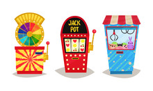 Slot Machines Vector Set. Gaming Industry Equipment Collection