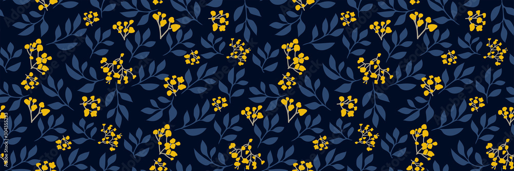 Fototapeta Floral seamless pattern with small yellow flowers, tree branches on dark background. Retro botanical print. Vector hand-drawn illustration. Modern vintage design, Wallpaper, fabric, backdrop...