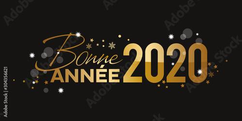Obraz Bonne Annee 2020 doré or fond noir - fototapety do salonu