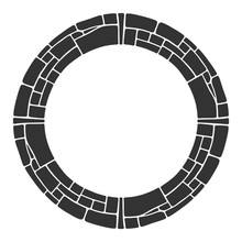 Abstract Round Frame, Circular Geometric Ornament Made Of Stones.