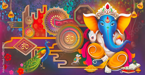 Photo Indian God Ganesha Wallpaper With Colorful Background