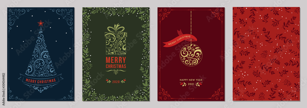 Fototapeta Merry Christmas and Bright Corporate Holiday cards.