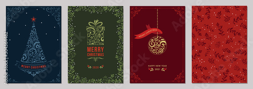 Obraz Merry Christmas and Bright Corporate Holiday cards.  - fototapety do salonu
