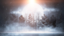 Winter Abstract Landscape. Sun...