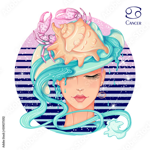 Zodiac. Vector illustration of the astrological sign of Cancer as a beautiful fashion girl in hat. Sign inscribed in a round shape isolated on white background. Fashion woman Wall mural