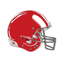 Vector Engraved Style Illustration For Posters, Decoration And Logo. Hand Drawn Sketch Of American Football Helmet In Colorful Isolated On White Background. Detailed Vintage Woodcut Style Drawing.