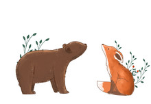 Cute Bear And Fox With Plants In White Background
