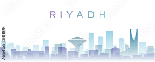 Photo Riyadh Transparent Layers Gradient Landmarks Skyline