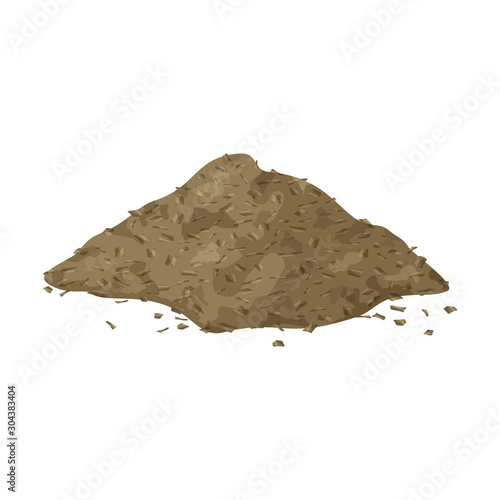 Fotografie, Tablou Brown pile of dried grass on white background