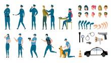 Stylized Policeman Animated Characters Flat Set