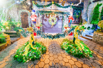 DYKER HEIGHTS, NEW YORK - DECEMBER 6, 2018 - Christmas Lights in Dyker Heights district. It is the cutest small area of houses  decorated for the holiday season in the Brooklyn Metropolitan Area