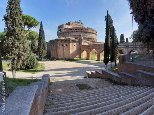 Roma - Castel Sant'Angelo dalla scala del parco Tapéta, Fotótapéta