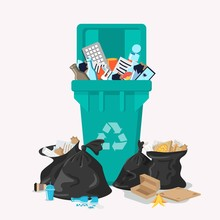 Plastic Garbage Bin Full Of Trash. Waste Recycling And Management. Can Full Of Overflowing Trash, Plastic Bags With Box, Papers, Glass, Bottles, E-waste. Cleaning City Banner Template. Household Waste