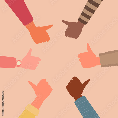 Fotografía  young people hands thumb up together in circle shape, unity teamwork, community, cooperation, and partnership support concept