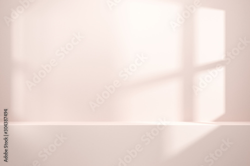 Obraz Front view of empty shelf or counter on white wall background with natural light of window. Display of room shelves for showing minimal concept. Realistic 3D render. - fototapety do salonu