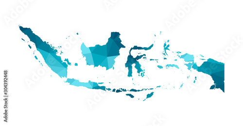 Fotomural Vector isolated illustration icon with simplified blue silhouette of Republic of Indonesia map