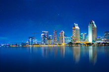 San Diego Skyline At Night , S...