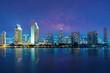 Leinwanddruck Bild - San Diego Skyline at Night , San Diego, California, USA