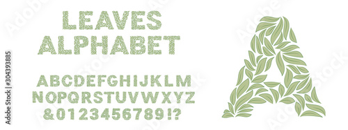 Obraz Ornamental green leaves alphabet isolated on white background and example of using. Vector illustration - fototapety do salonu