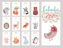 Calendar 2020 With Woodland Characters. Cute Forest Animals. Vector Illustration.