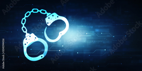 Stampa su Tela  2d illustration Cyber Security concept: pixelated handcuffs icon on digital back