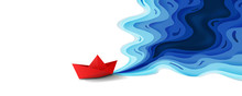 Origami Red Paper Boat On Blue Water Polygonal Trendy Craft Style, Paper Art Design Background