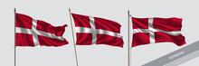 Set Of Denmark Waving Flag On ...
