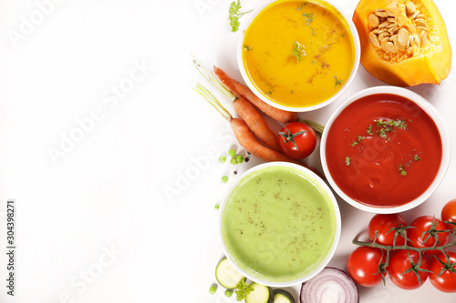 Photo collection of vegetable soup with ingredient on white background