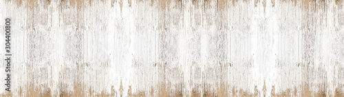 old white painted exfoliate rustic bright light wooden texture - wood background banner panorama long shabby - 304400800