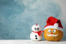Snowman And Pumpkin With Santa...