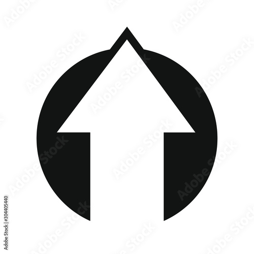 Fotomural  Arrow at the top direction icon from a black circle