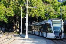 A Light Electric Train In Rio De Janeiro Downtown Going To Santos Dumont Airport, Brazil