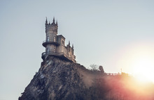 Swallow's Nest Castle On The Rock Over The Black Sea On The Sunset. Yalta.
