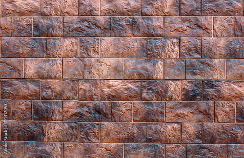 Several  rows of beautiful relief facade tiles of dark brown color with streaks Wallpaper Mural